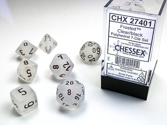 7 Die Dice Polyhedral Set - Chessex Frosted Clear with Black Tabletop RPG Games