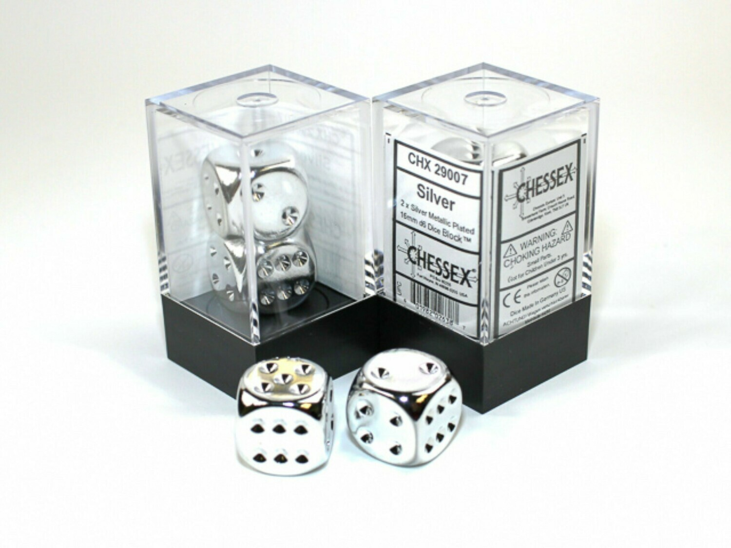 2D6 (2 Six Sided) (Pair) 16mm Silver Metallic Plated Dice RPG Gaming Tabletop Roleplay