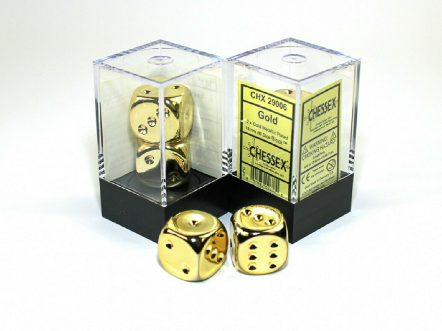 2D6 (2 Six Sided) (Pair) 16mm Gold Metallic Plated Dice RPG Gaming Tabletop Roleplay