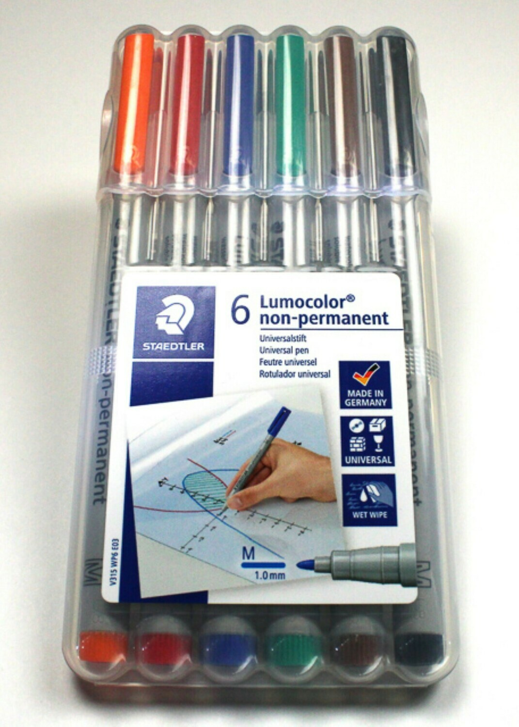 6 Color Pack Wet Erase Water Soluble Markers Lumocolor Medium