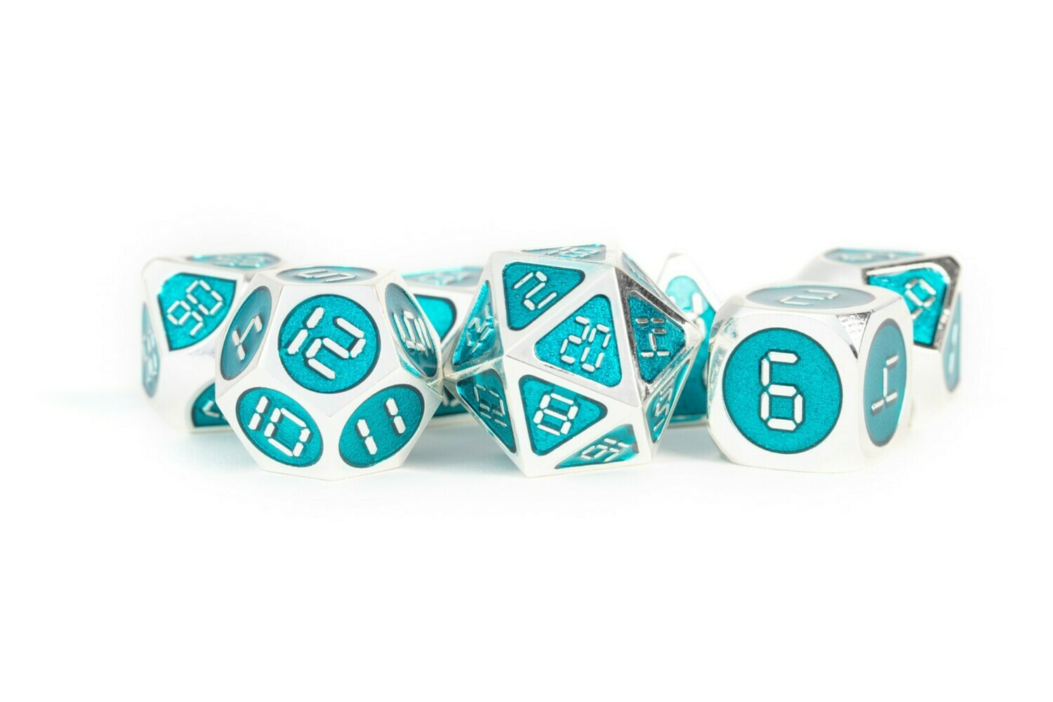 Metal Silver with Teal Enamel 16mm Polyhedral Dice Set (or Individually)