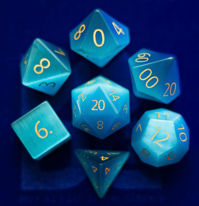 Engraved Cat's Eye Aquamarine: Full-Sized 16mm Polyhedral Set