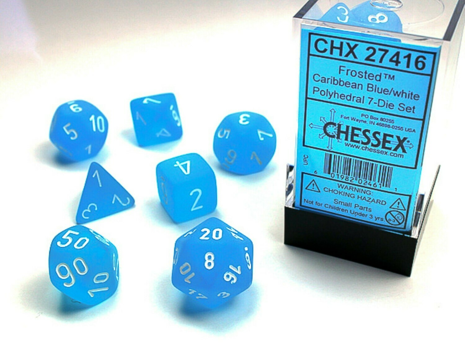 Chessex 16mm 7 Die Polyhedral Dice Set - Frosted Carribean Blue with White - RPG Tabletop Game