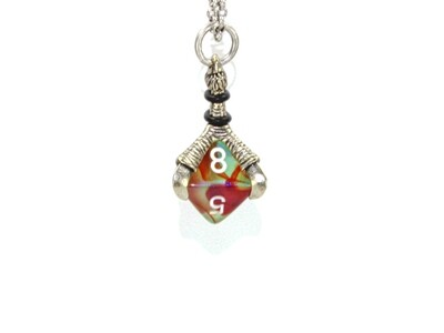 Chessex 16mm Dice Pendant Old Silver Butterfly D8 Die Tabletop RPG Gaming