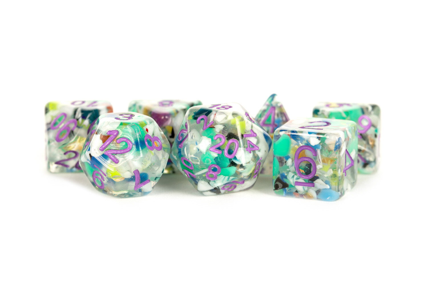 Recycled Dice with Purple Number Poly Dice Set 16mm Polyhedral Dice Set Tabletop