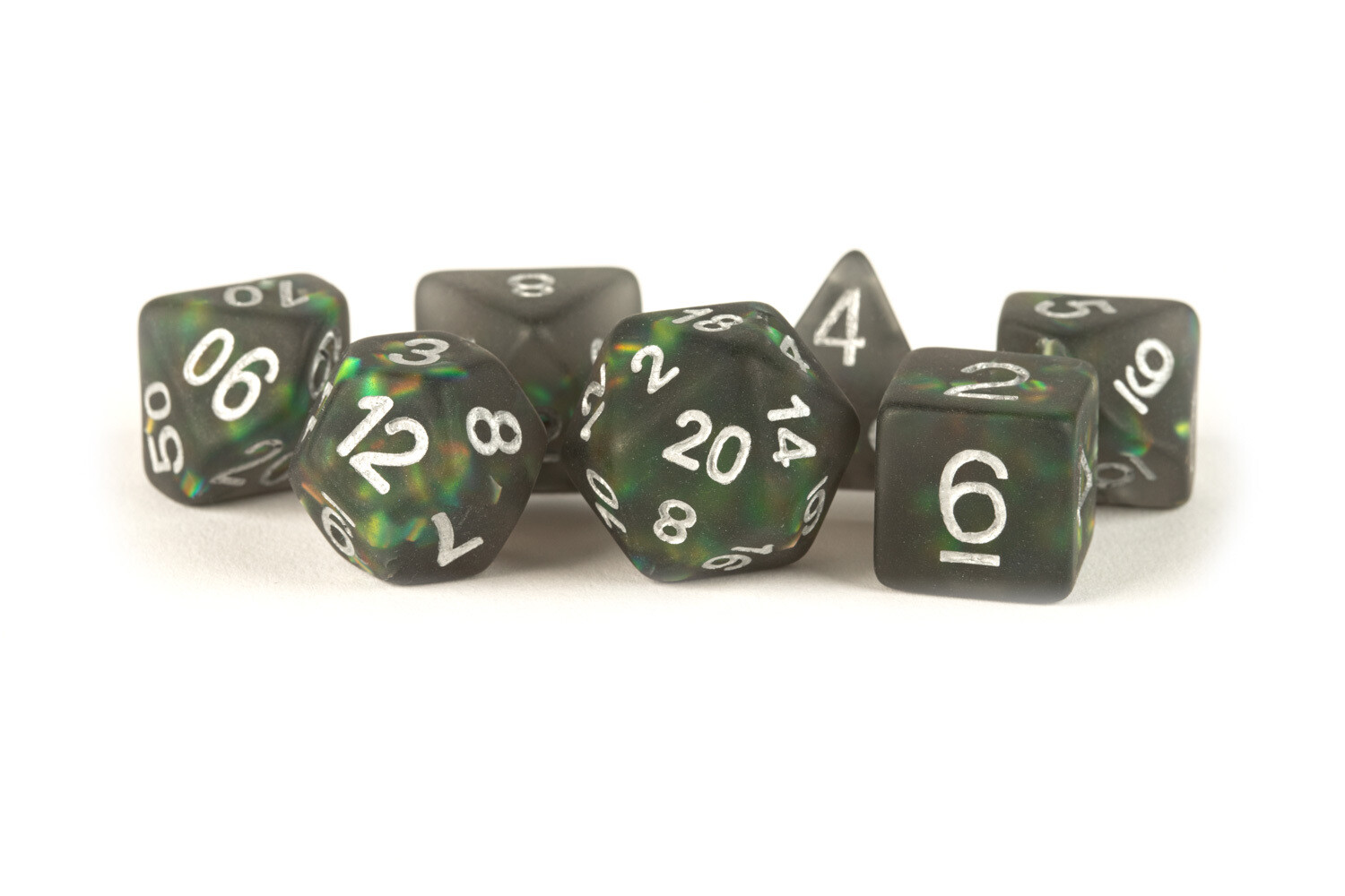 Icy Opal Black with Silver Numbers 16mm Poly Dice Set 7 Die Polyhedral RPG Tabletop Gaming