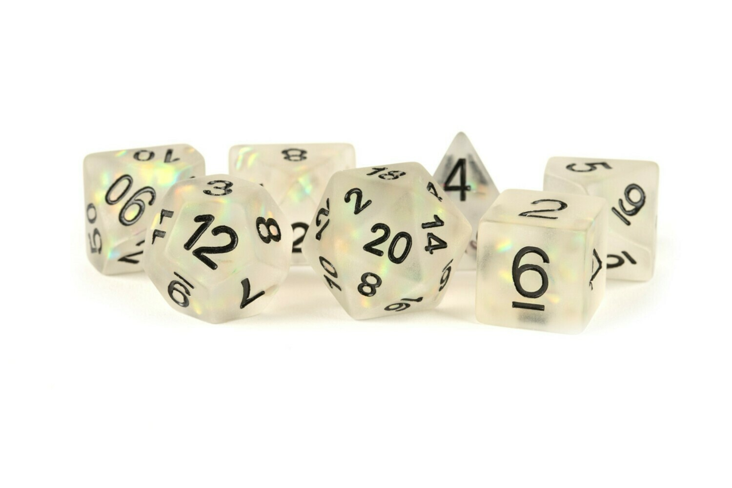 Icy Opal Clear with Silver Numbers 16mm Poly Dice Set 7 Die Polyhedral RPG Tabletop Gaming
