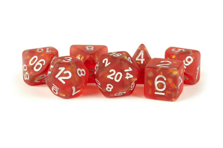 Icy Opal Red with Silver Numbers 16mm Poly Dice Set 7 Die Polyhedral RPG Tabletop Gaming