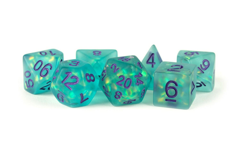 Icy Opal Teal with Silver Numbers 16mm Poly Dice Set 7 Die Polyhedral RPG Tabletop Gaming