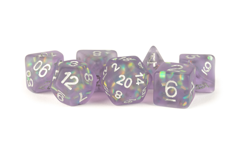 Icy Opal Purple with Silver Numbers 16mm Poly Dice Set 7 Die Polyhedral RPG Tabletop Gaming