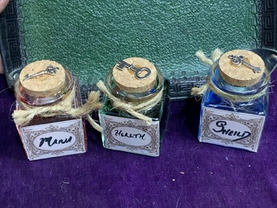 Potion Set x3 - 2.5x1.5x1.5 Square Magic Potion Bottle Fairy Witch Alchemist
