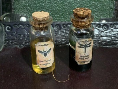 Bee Venom & Dragonfly Juice - 2x.75 Magic Potion Bottle Fairy Witch Alchemist LARP Cosplay Theater Movie Medieval Fantasy