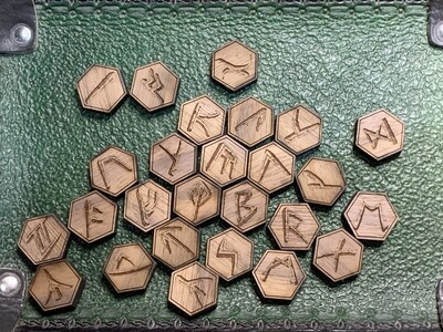 Walnut Runic Tokens Laser Engraved Inspired by Richard Garriott's Ultima Language