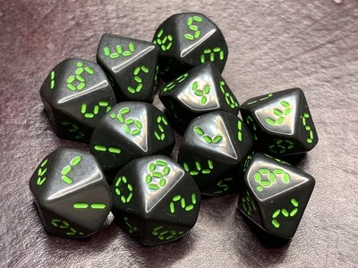 Retro Dice 10D10 (Ten 10-Sided) Polyhedral Set