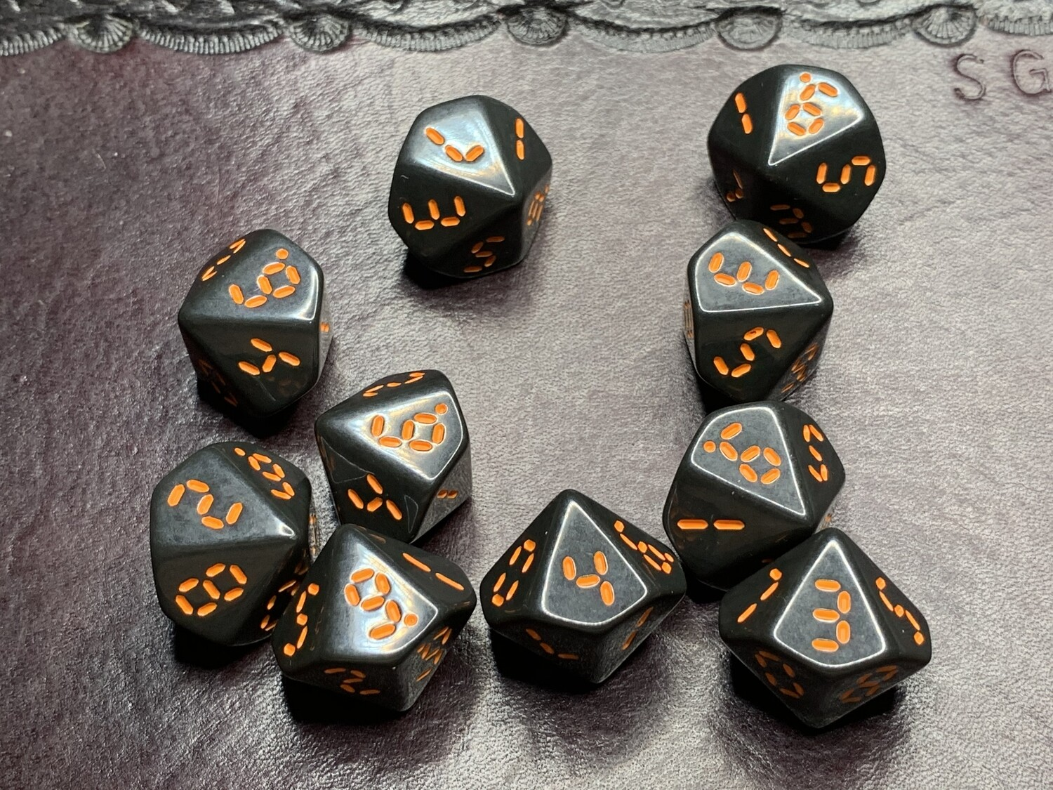 "Retro Dice 10D10 (Ten 10-Sided) Polyhedral Set ""Fly Dangerous"" Tabletop RPG Gaming Roleplay"