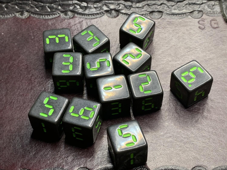 "Retro Dice 12D6 (Twelve 6-Sided) ""Order 937"" Tabletop RPG Gaming Roleplay"