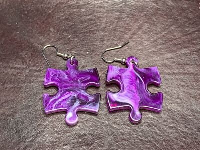 Puzzle Piece Puzzle Earrings - Chessex Dice Style Vortex - Purple & Whites