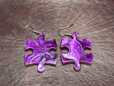 Puzzle Piece Puzzle Earrings - Chessex Dice Style Vortex - Purple & Whites