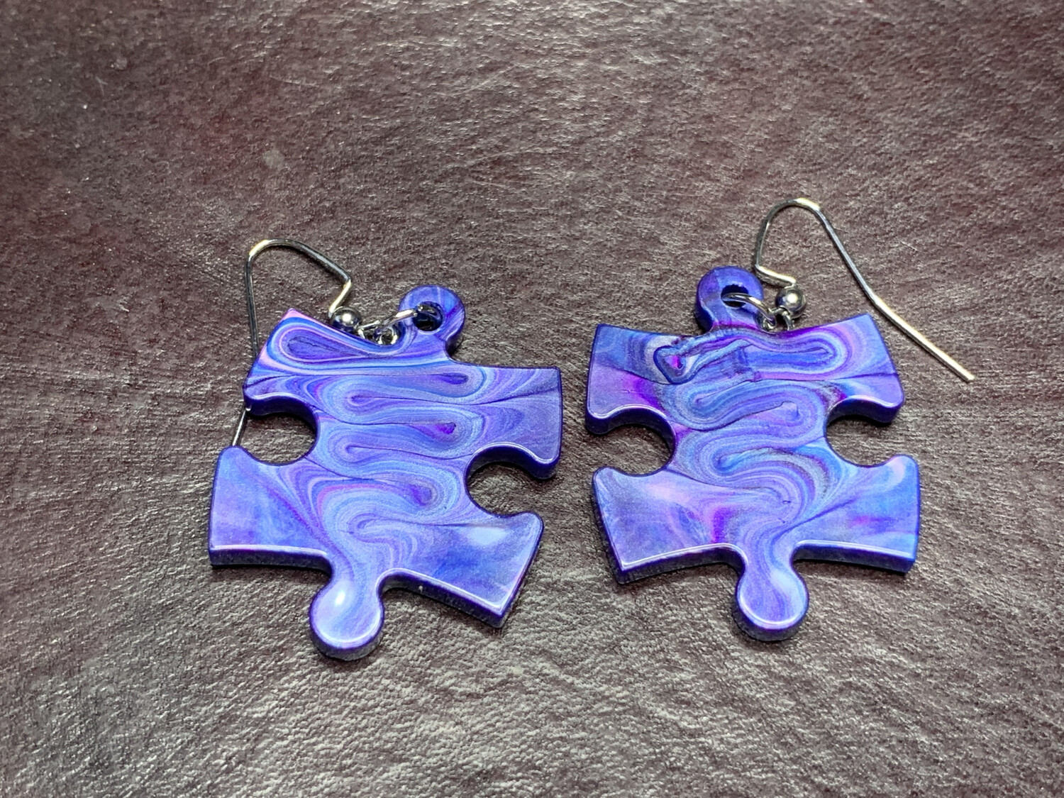 Puzzle Piece Puzzle Earrings - Chessex Dice Style Lustrous - Blue & Purple