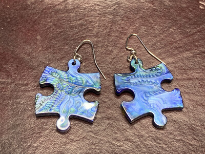 Puzzle Piece Puzzle Earrings - Chessex Dice Style Lustrous - Blue & Green