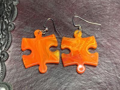Puzzle Piece Puzzle Earrings - Chessex Dice Style Vortex - Orange & Yellow