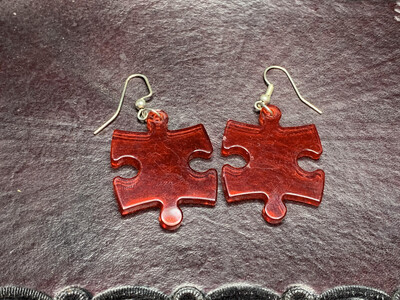 Puzzle Piece Puzzle Earrings - Chessex Dice Style Translucent - Red