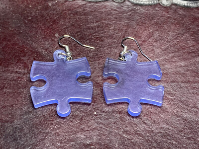 Puzzle Piece Puzzle Earrings - Chessex Dice Style Translucent - Light Blue