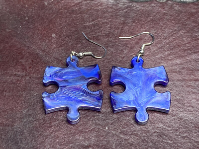 Puzzle Piece Puzzle Earrings - Chessex Dice Style Scarab - Blues