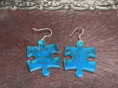 Puzzle Piece Puzzle Earrings - Chessex Dice Style Borealis - Light Blue