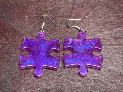 Puzzle Piece Puzzle Earrings - Chessex Dice Style Borealis - Purple