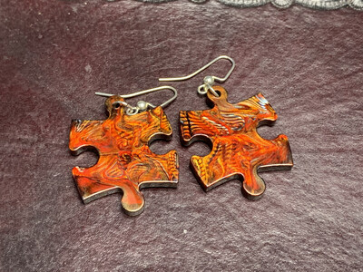 Puzzle Piece Puzzle Earrings - Chessex Dice Style Scarab - Copper, Red, & Black