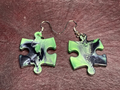 Puzzle Piece Puzzle Earrings - Chessex Dice Style Gemini - Black & Green