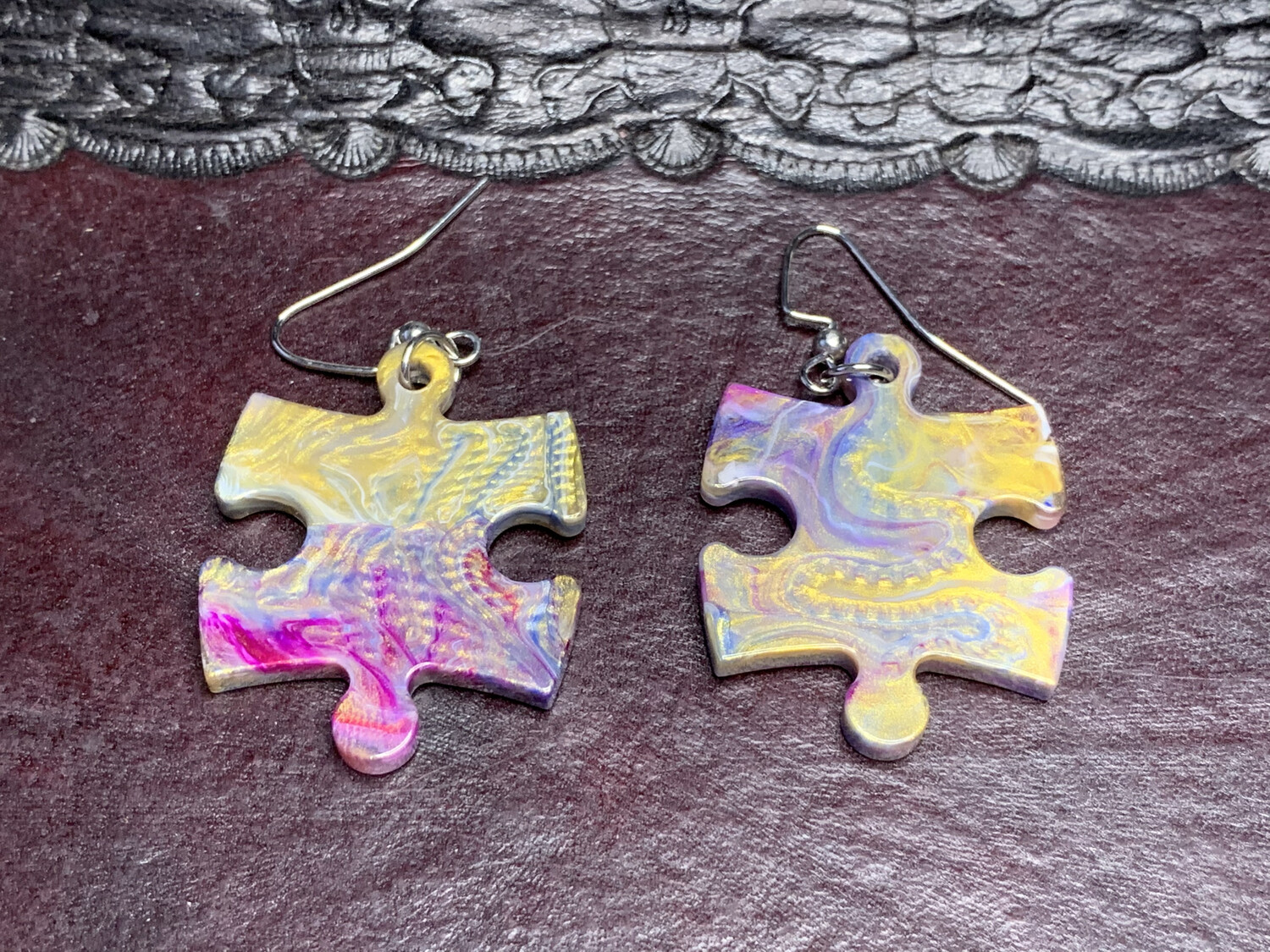 Puzzle Piece Puzzle Earrings - Chessex Dice Style Festive - Gold, Blue, Magenta