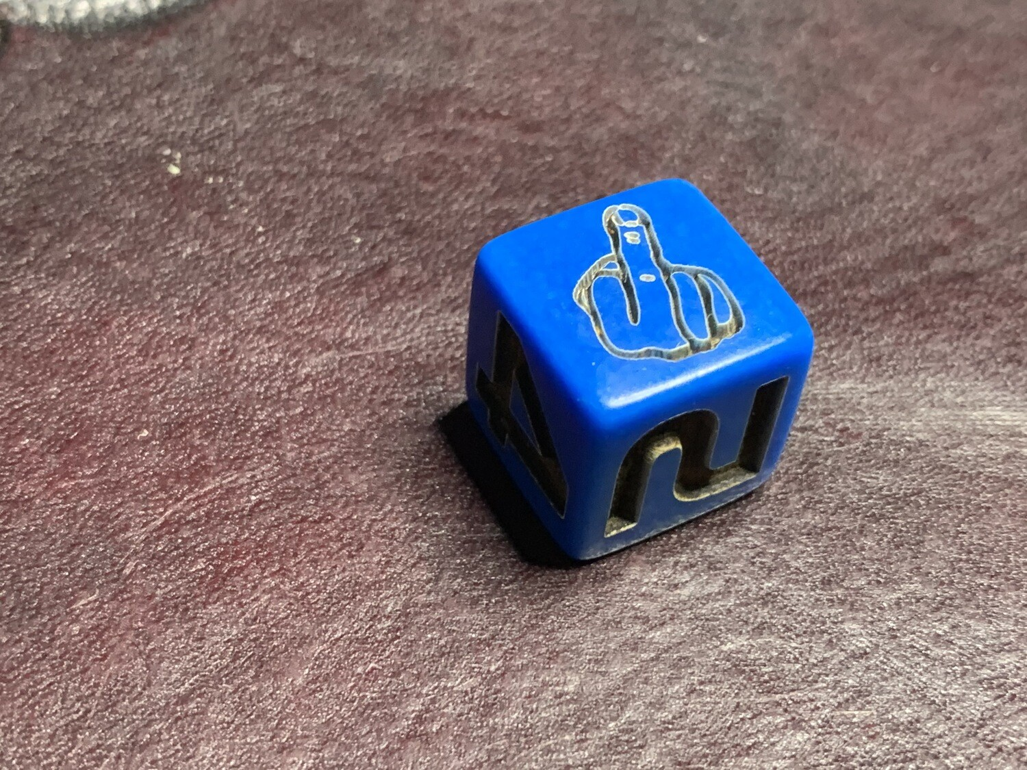 Opaque Blue D6 Custom Engraved Die Middle Finger Gaming Tabletop RPG Roleplay