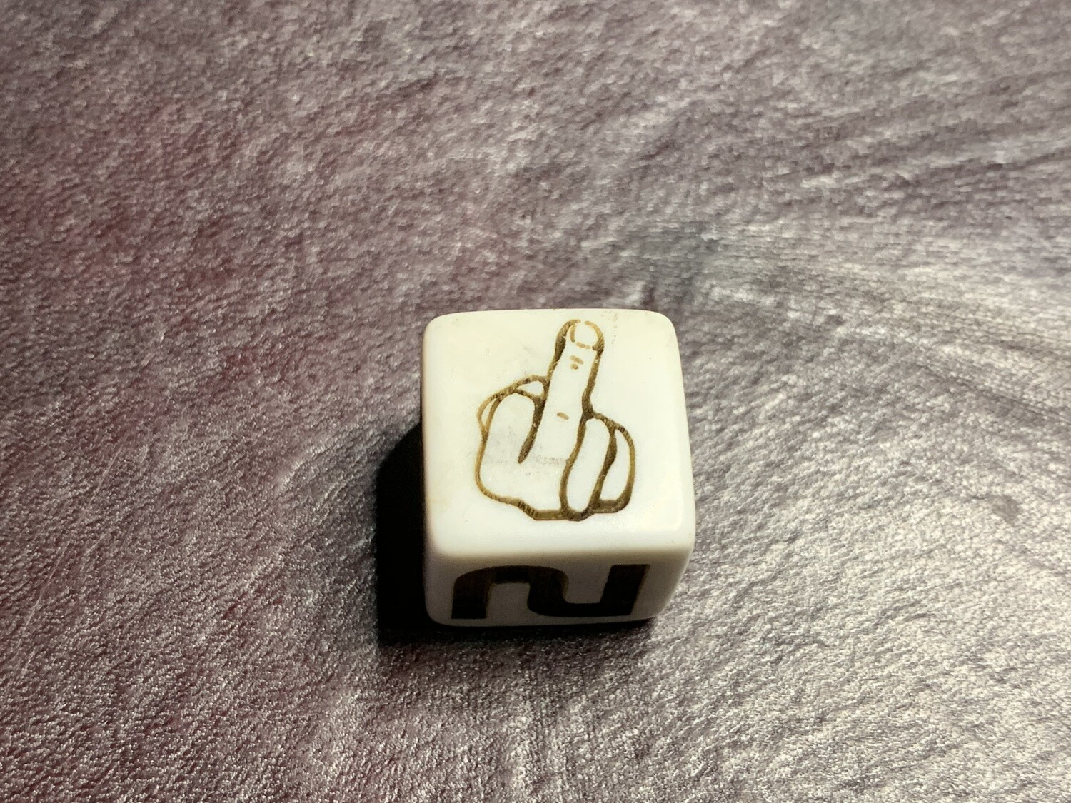Opaque White D6 Custom Engraved Die Middle Finger Gaming Tabletop RPG Roleplay