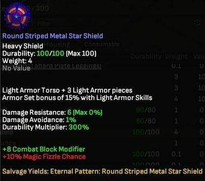 Round Striped Metal Star Shield - Shroud of the Avatar