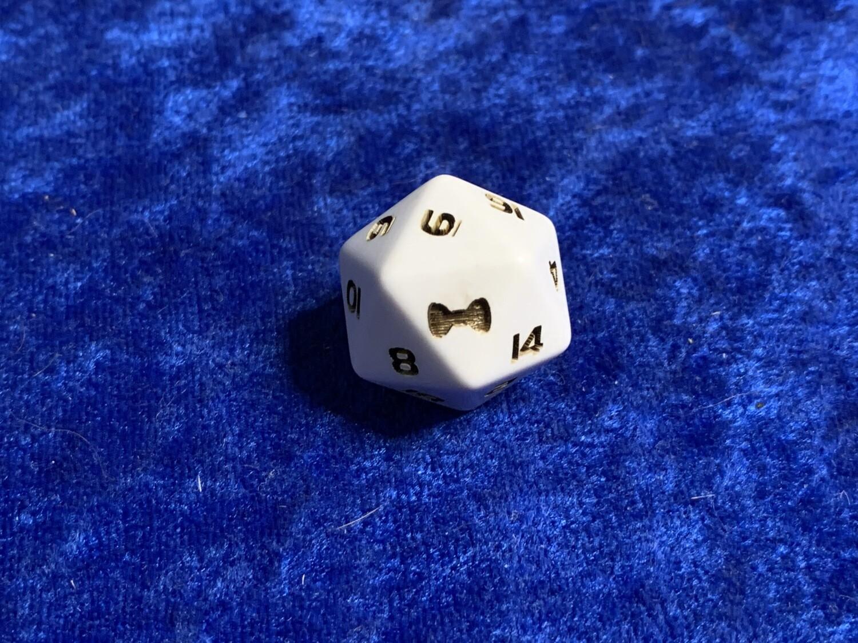 Bow Tie D20 Twenty Sided Custom Engraved Die Gaming Tabletop RPG Roleplay Dice