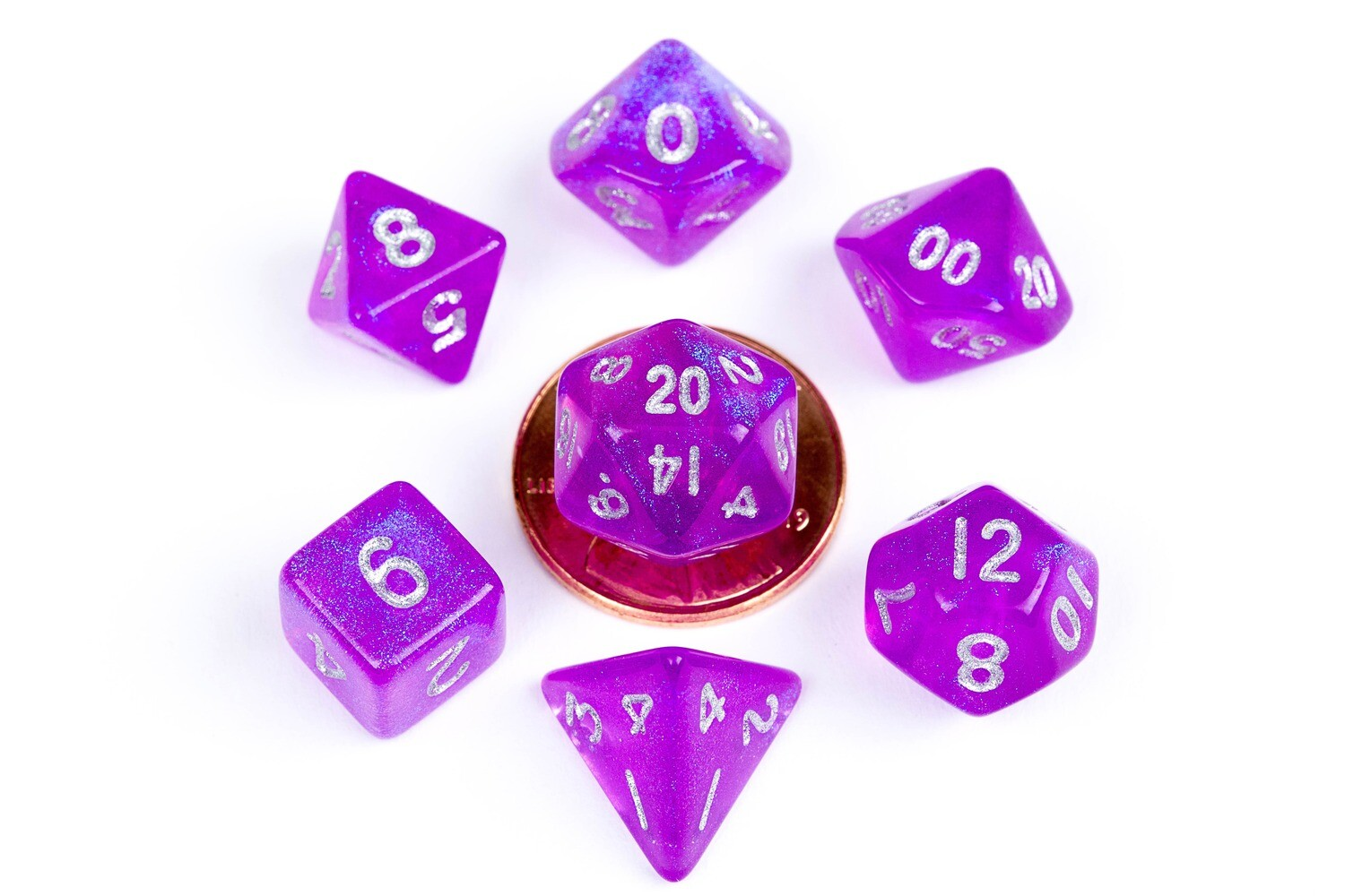 Stardust Purple 10mm Mini Poly Dice Set RPG Tabletop Gaming Roleplay Cards Board Games