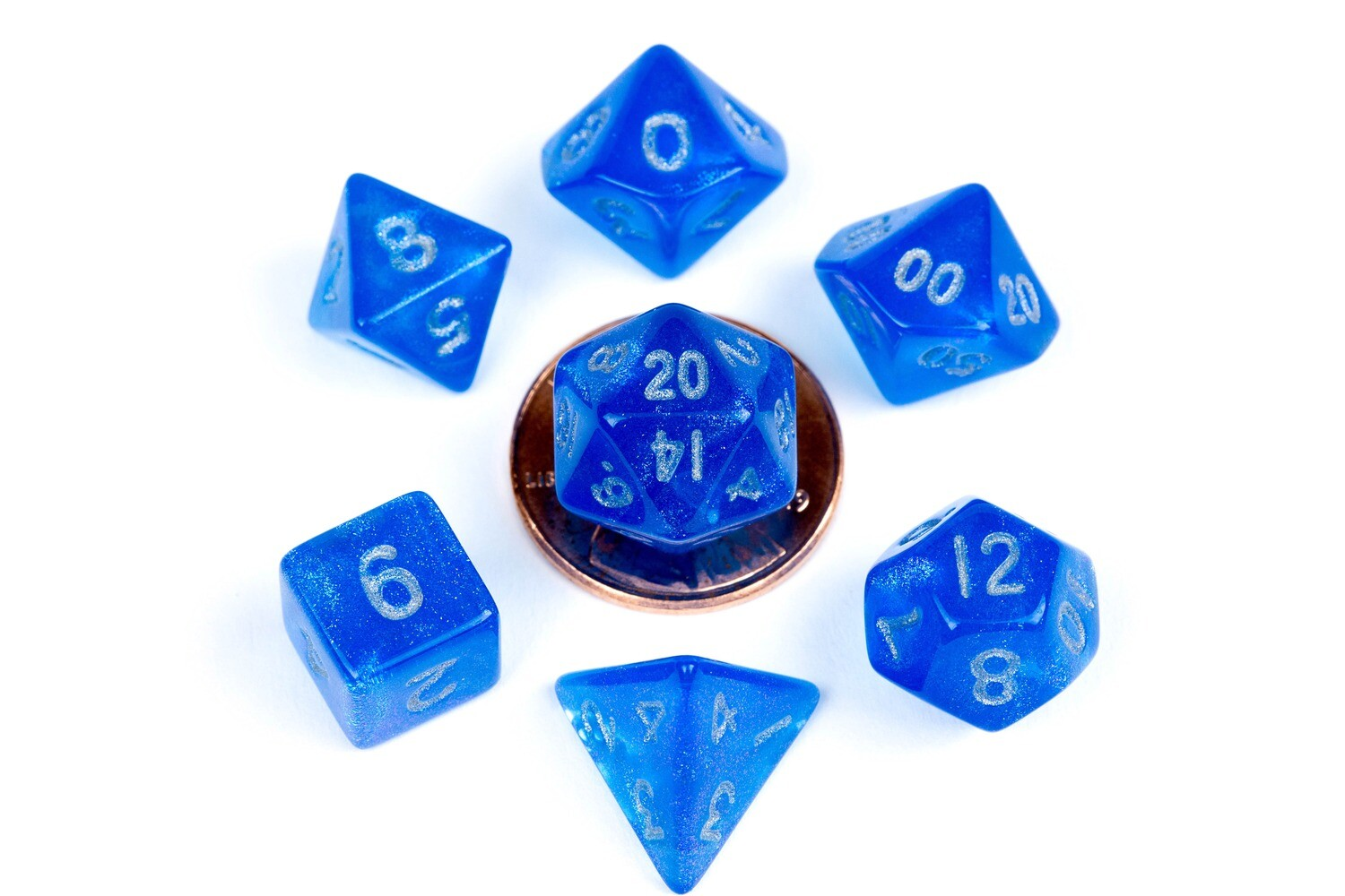 Stardust Blue with Silver 10mm Mini Poly Dice Set RPG Tabletop Gaming Roleplay