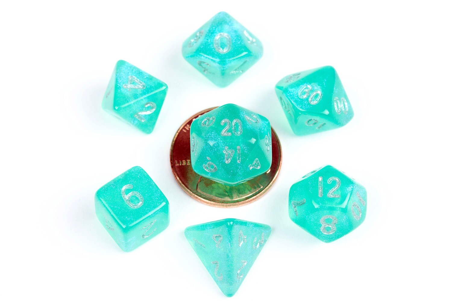 Stardust Teal 10mm Mini Poly Dice Set RPG Tabletop Gaming Roleplay Cards Board Games
