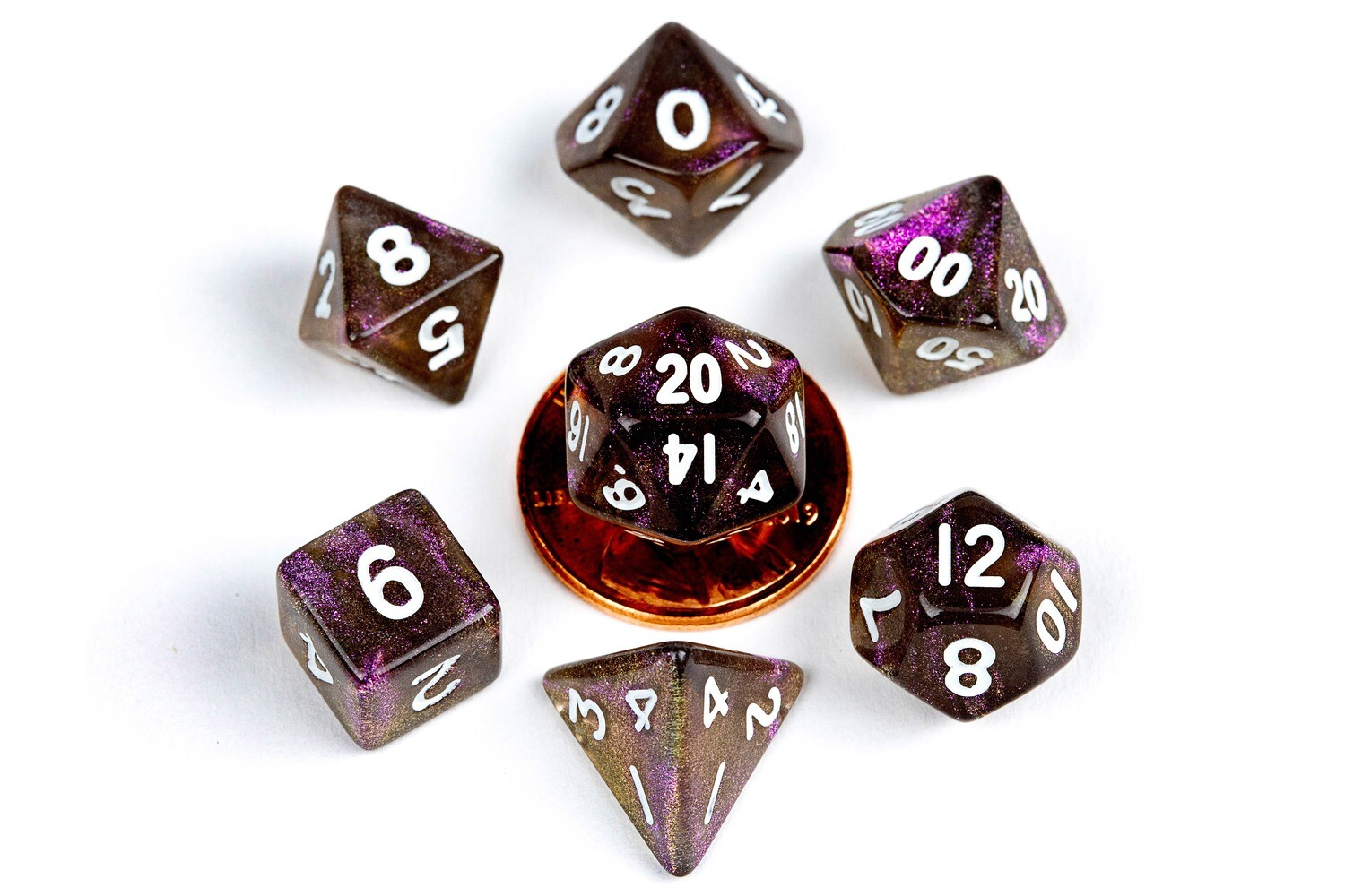 Stardust Supervolcano 10mm Mini Poly Dice Set RPG Tabletop Gaming Roleplay Cards Board