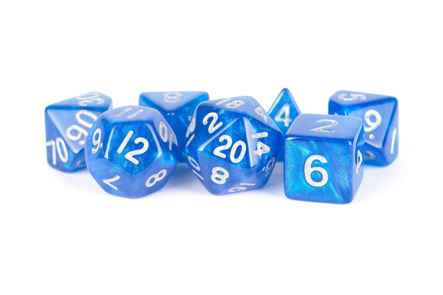 16mm Polyhedral 7 Die Dice Set Stardust Blue with Silver RPG Tabletop Games Gaming Board Card