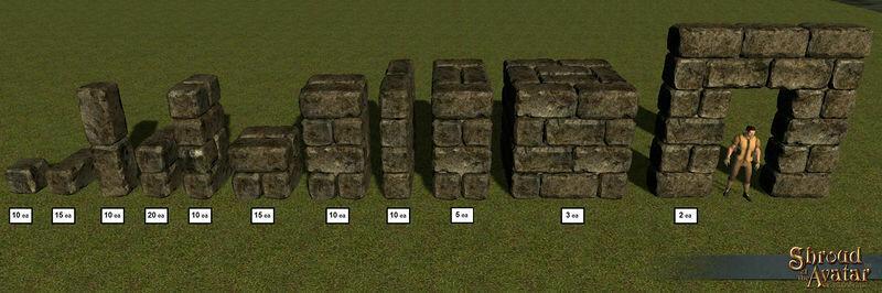 Dark Rough Stone Building Blocks 110-Pack - Shroud of the Avatar
