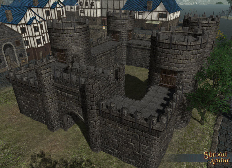Dark Stone Spiked Castle Wall Set with Extras - Almost Two Full Sets - Shroud of the Avatar