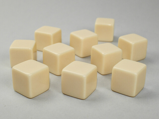 10D6 (10 Six Sided) 16mm Blank Ivory Dice RPG Gaming Tabletop Roleplay