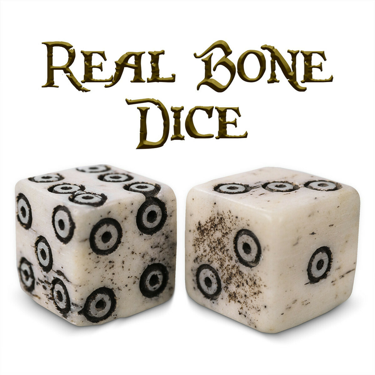 Luck Of The Lich Bullseye Bone Dice 10mm Mini D6 Six-Sided RPG Tabletop Gaming