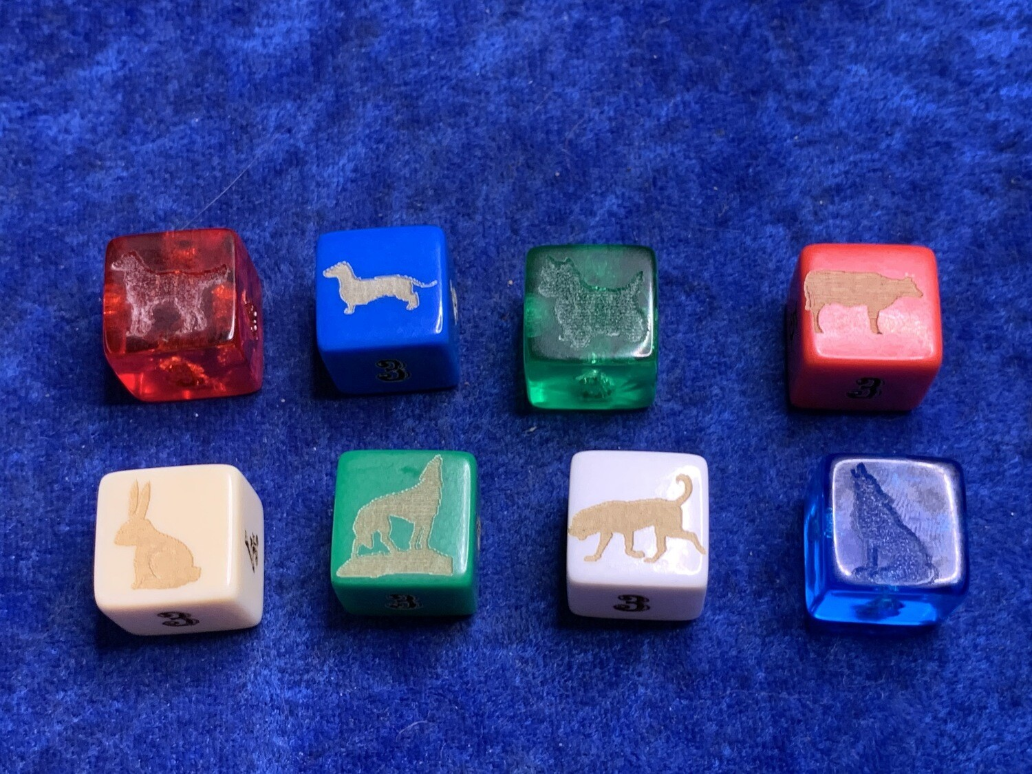 16mm D6 (Six-Sided) Custom Engraved Dice Gaming Tabletop RPG Roleplay Dogs Irish Setter Dachshund Weiner Doxin Terrier Cow Rabbit Wolf