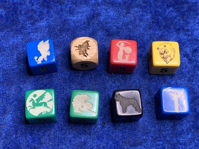 16mm D6 (Six-Sided) Custom Engraved Dice Gaming Tabletop RPG Roleplay Dog Griffon Fairy Pixie Mermaid Devil Pegasus Orc Bouvier Death