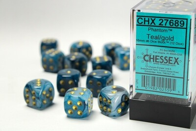 Chessex 16mm 12D6 Block - Phantom Teal with Gold RPG CCG Tabletop Gaming Roleplay CCG Board Card Random Generation Token Markers Decision