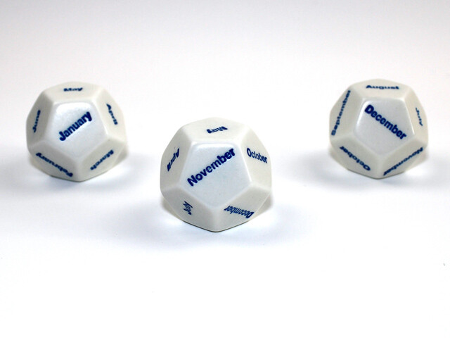 28mm d12 Months White/Blue Jan-Dec Great for Role Playing Games RPG Tabletop
